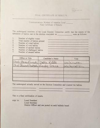 Chief Steward Election Results